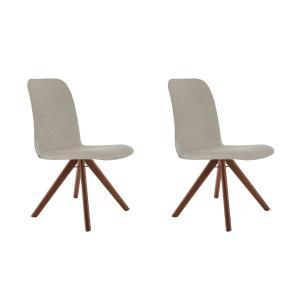 Conjunto de 02 Cadeiras de Jantar Giratória Bari Bege Escuro 4613 Base Madeira cor Imbuia