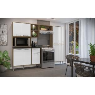 Cozinha Compacta com 2 Leds Armário e Balcão com Tampo Xangai Sun Multimóveis Madeirada/Branca
