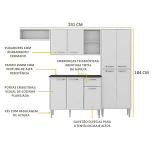 Cozinha Compacta Xangai 9 Portas Multimóveis Branco