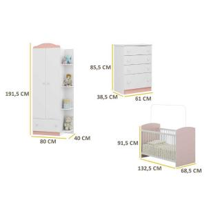 Quarto Infantil completo João e Maria Multimóveis Branco/Rosa com Berço + Guarda roupa 2 portas + cômoda 4 Gavetas