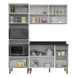Cozinha Completa 4 peças Americana Multimóveis 5908 Branco/Grafite