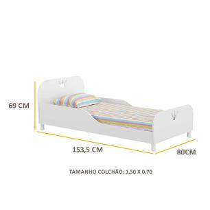 Mini Cama Multimóveis Rei / Rainha 100% MDF para colchão 150cmx70cm Branca REF.2321.010
