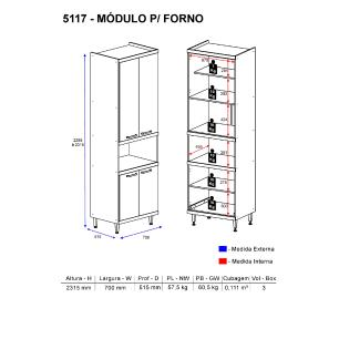 Paneleiro Multimóveis Sicília para forno 5117 Argila/Preto