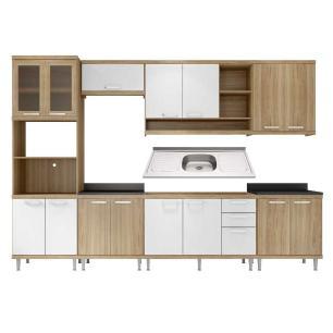 Cozinha Compacta com Pia Inox 8 peças Sicília Multimóveis MP3222 Madeirado/Branco