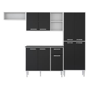 Cozinha Completa Compacta com Armário e Balcão com Tampo Coimbra Multimóveis Preto/Branco