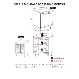 Balcão Multimóveis Sicília Duplo 70cm para  Cooktop 5122 Argila