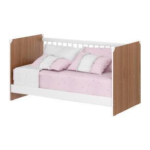 Quarto Completo infantil New Cristal Multimóveis Avelã/Branco com Berço mini cama + Guarda roupa 3 portas + cômoda 1 Porta e 4 Gavetas