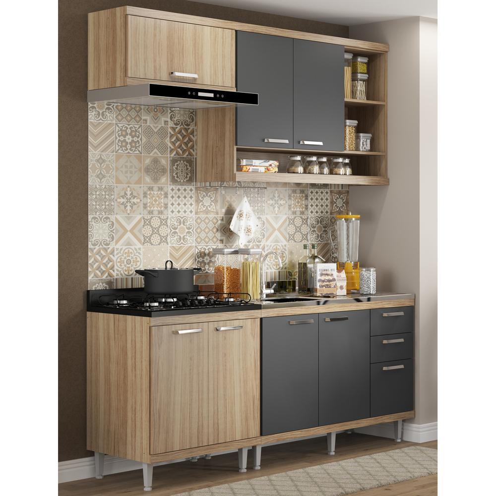 Cozinha Compacta Completa Multimóveis com 4 peças Sicília 5810 Argila/Grafite