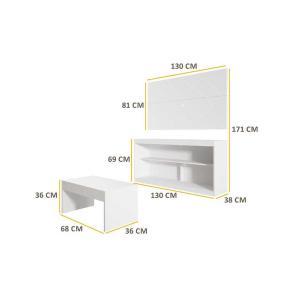 Rack c/Painel TV até 47 Pol Mesa Centro Inovare Multimóveis Branco Acetinado