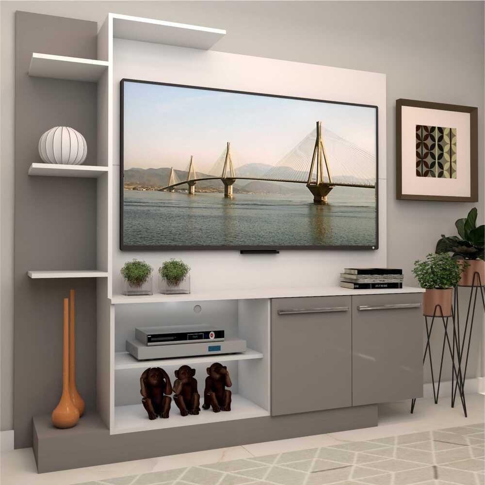 Estante com painel para TV até 55 polegadas e 2 portas Porto Multimóveis Branco/Lacca Fumê