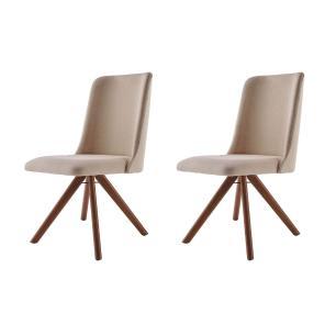 Conjunto de 02 Cadeiras de Jantar Giratória Arrezo Bege Escuro 4613 Base Madeira cor Imbuia