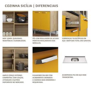 Cozinha Compacta com Pia Inox 5 peças Sicília Multimóveis MP3188 Madeirado/Preto