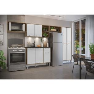 Cozinha Compacta com 3 Leds Armário e Balcão com Tampo Xangai Up Multimóveis Madeirada/Branca