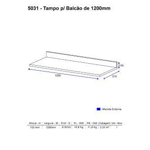 Tampo para balcão de 120 cm Multimóveis Toscana 5031 Preto