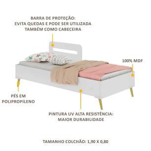 Cama Solteiro p/ colchão 88 x 188 cm Grade Proteção Pé Retrô Vintage Prime Multimóveis Bco/Natural
