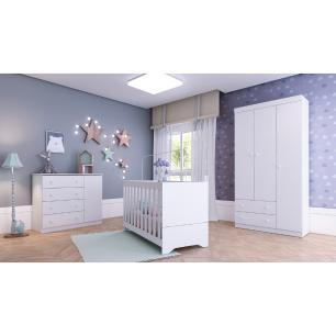 Quarto Completo infantil Helena Multimóveis Branco com Berço mini cama + Guarda roupa 3 portas + cômoda 1 Porta e 4 Gavetas