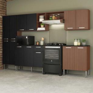 Cozinha Completa Compacta c/ Armário Balcão c/ Tampo 5 pçs Pequim Jazz Multimóveis Carv. Avelã/Pto