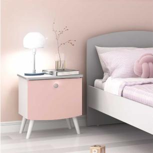 Mesa de Cabeceira 100% MDF com 1 gaveta Doçura Multimóveis Branco/Cinza/Rosa