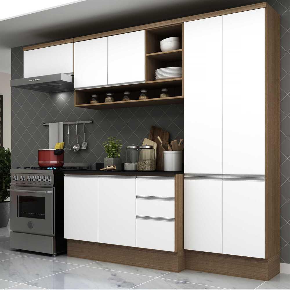 Cozinha Completa Compacta com Armário e Balcão com Tampo Hollywood Multimóveis Nogueira/Branco