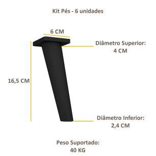 Pés Palito Retrô - Kit com 6 unidades Multimóveis Preto