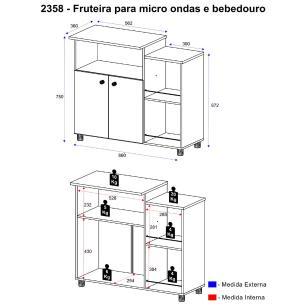 Balcão Multimóveis para Forno e Microondas Branco REF.2358