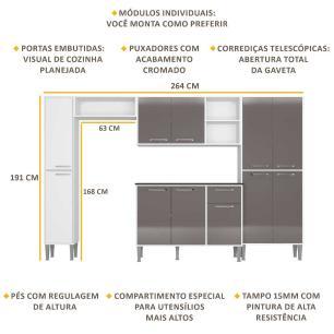 Cozinha Completa Compacta c/ Armário e Balcão c/ Tampo 5 pçs Xangai Classic Multimóveis Bca/Lca Fumê