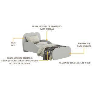 Cama Infantil para colchão 70 x 150 cm 100% MDF Nuvem Multimóveis Cinza
