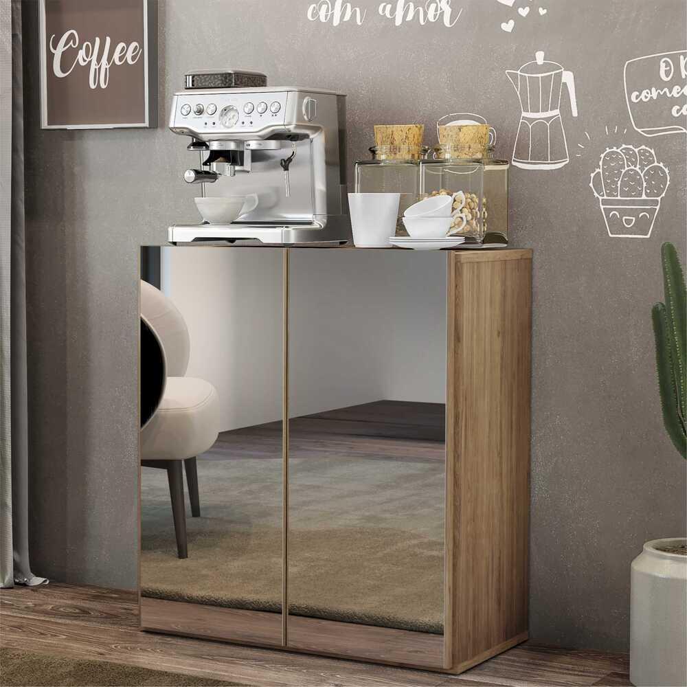 Aparador Cantinho do Café com Espelho 2 Portas Multimóveis Rustic
