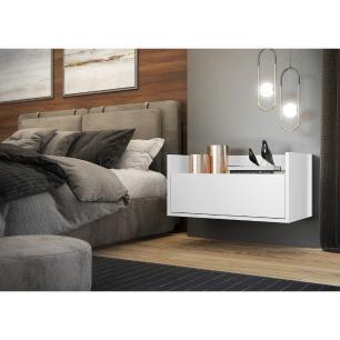Mesa de Cabeceira 60 cm Suspensa Multimóveis Branca