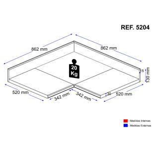 Tampo Multimóveis Multiuso MDP 30mm para Balcão de canto Bertioga REF.5204