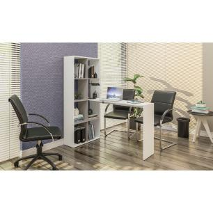 Mesa Office com estante lateral Multimóveis Branco/Lacca Fume