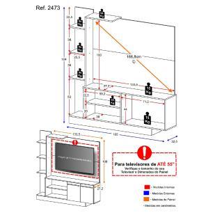 Estante Home Theater P/TV até 55 Pol. Denver Multimóveis  Duna com preto Brilho
