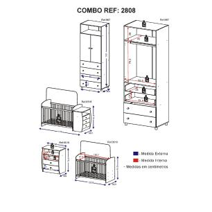 Guarda Roupa de 2 portas e 4 gavetas e berço-cômoda Rafael Multimóveis Branco/Rosa