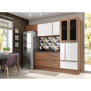 Cozinha Completa Multimóveis com 7 peças Calábria 5453R Nogueira/Branco