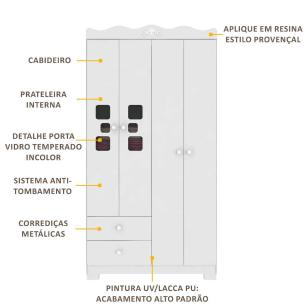 Guarda-Roupa Linha Realeza 4 Portas e 2 Gavetas Multimóveis Branco