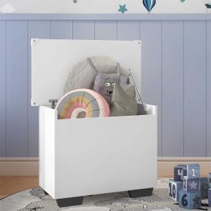 Baú Organizador Caixa de Brinquedos Pés Quadrados Multimóveis Branco/Preto