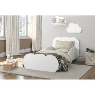 Cama Infantil com 2 Prateleiras para colchão 70 x 150 cm  Nuvem Multimóveis Branca