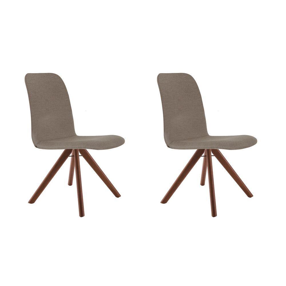 Conjunto de 02 Cadeiras de Jantar Giratória Bari Café com Leite 1777 Base Madeira