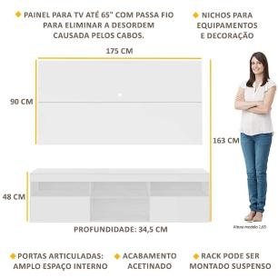 Painel TV até 65 polegadas com Rack Suspenso Flórida Multimóveis Branco