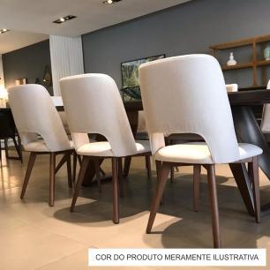 Cadeira de Jantar Fixa Parma Bege Escuro 4613 Base Madeira cor Imbuia