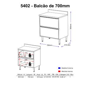 Balcão Multimóveis Calábria 70cm 5402 Nogueira/Branco