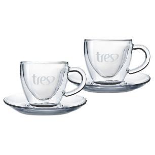 Conjunto de 2 Xícaras de Café em Vidro Coração 50ml Três Corações
