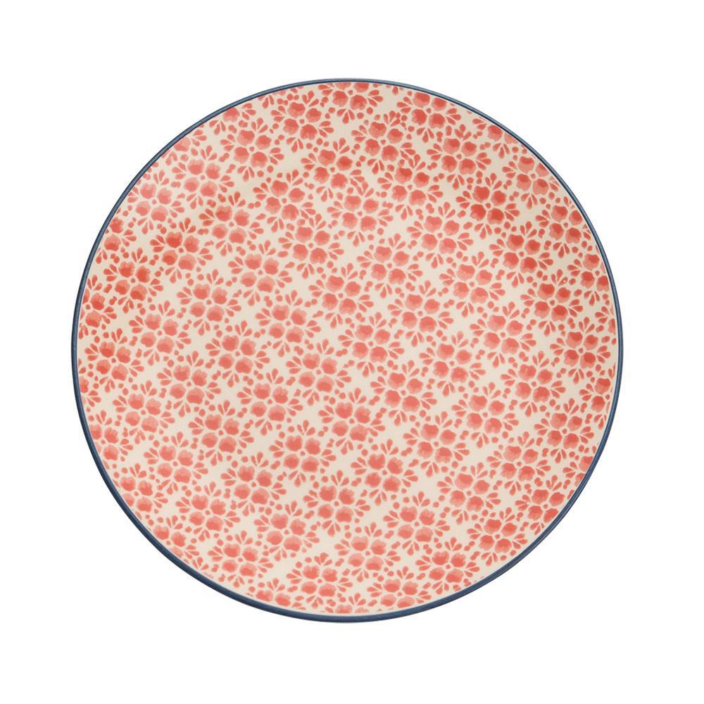 Prato para sobremesa em cerâmica vermelho 21cm florals Kenya