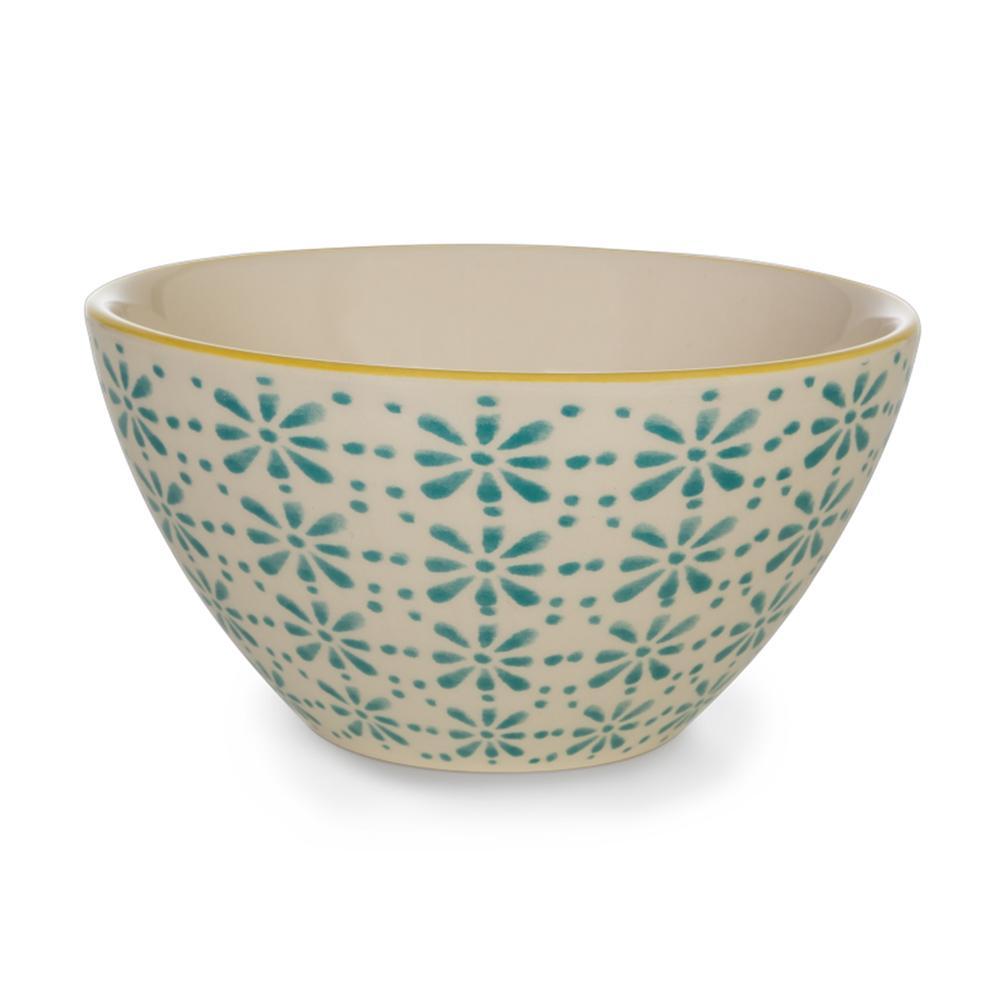 Tigela em Cerâmica 600ml Florals Kenya Azul Turquesa