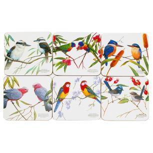 Conjunto de 6 Descansos para Copos em MDF Birds Maxwell & Williams