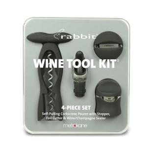 Kit para Vinho com Saca Rolhas e 3 Acessórios Wine Tool Rabbit Preto