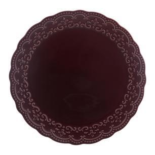 Prato de Bolo em Cerâmica Passion Sumac 27cm Rita Lobo Vinho