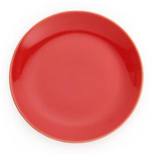 Prato Raso em Cerâmica 27,5cm Clear Kenya Vermelho Tomate