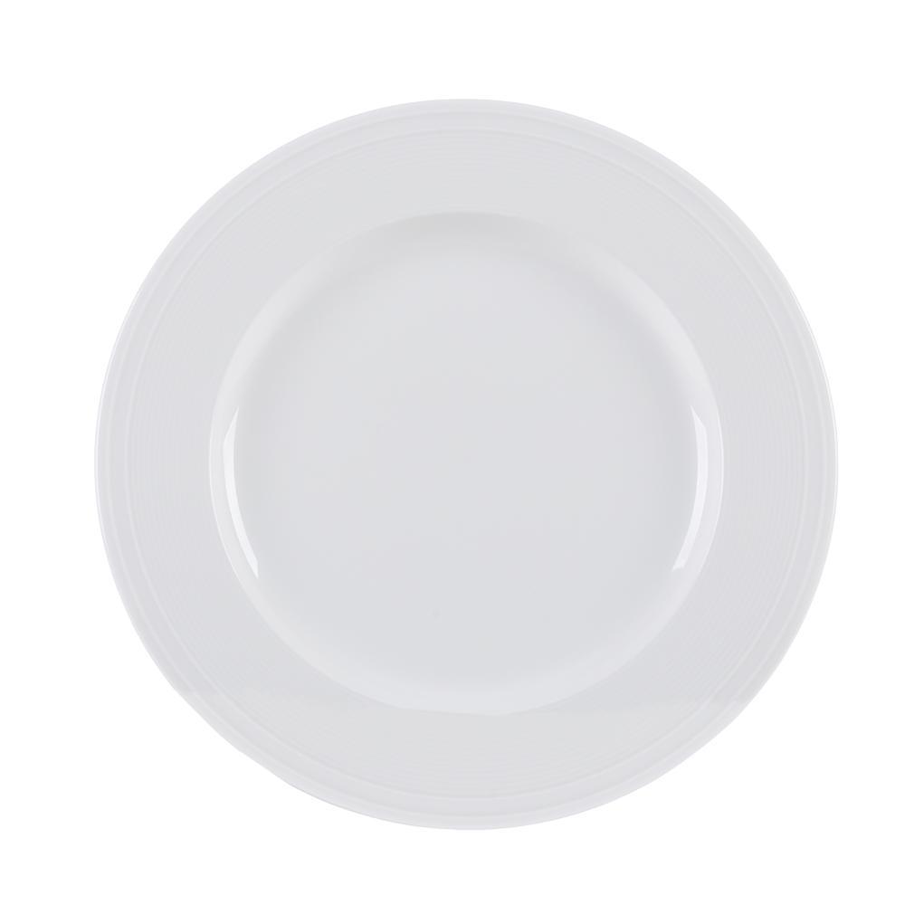 Conjunto de 4 Pratos Rasos em Porcelana 28cm Breeze Kenya Branco