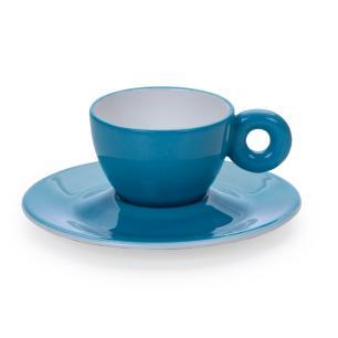 Xícara para Café com Píres em Porcelana Rainbow 110ml Kenya Azul